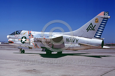 BIC-A-7USN 00001 A static colorful Vought A-7A Corsair II USN VA-303 GOLDEN HAWKS attack jet bicentennial markings NAS Alameda 10-1977 military airplane picture by Peter B Lewis