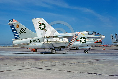 BIC-A-7USN 00002 A static colorful Vought Corsair II USN VA-303 GOLDEN HAWKS attack jet bicentennial markings NAS Alameda 7-1977 military airplane picture by Peter J Mancus