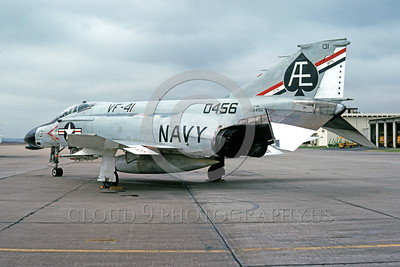 BIC-F4USN 00006 A static bicentennial markings McDonnell Douglas F-4 Phantom II USN 150546 VF-41 BLACK ACES AE code NAS Miramar 10-1975 military airplane picture by Peter B Lewis