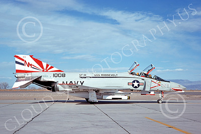F-4USN 00889 A taxing sharkmouth McDonnell Douglas F-4N Phantom II US Navy 151008 VF-111 SUNDOWNERS USS Roosevelt BICENTENNIAL NAS Fallon 5-1976 military airplane picture by Michael Grove, Sr