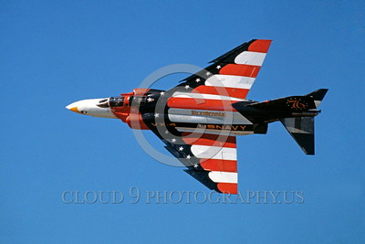 BIC-F4USN 00003 A flying colorful McDonnell Douglas F-4 Phantom II USN VX-4 THE EVALUATORS bicentennial markings military airplane picture by Peter J Mancus