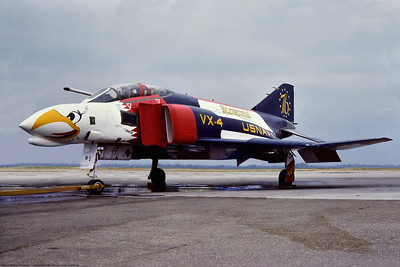 F-4II-USN-VX-4 001 A static, colorful, McDonell Douglas F-4 Phantom II, USN, VX-4 THE EVALUATORS, in bicentennial 1976 markings, 1-1975 NAS North Island, military airplane picture by Stephen W  D  Wolf     BBB_9964     Dt