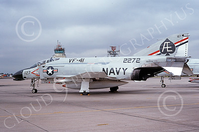 F-4USN 00101 A static McDonnell Douglas F-4N Phantom II US Navy 152272 VF-41 BLACK ACES BICENTENNIAL NAS Miramar 1-1976 military airplane picture by Michael Grove, Sr