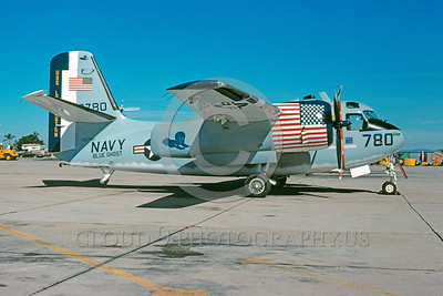 BIC-C-1 00002 A static Grumman C-1A Trader USN bicentennial markings USS Lexington NAS North Island 3-1977 military airplane picture by Peter J Mancus