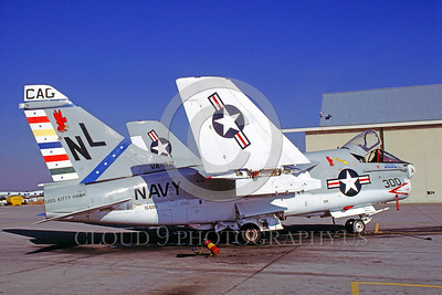 CAG-A-7USN 00001 A static Vought A-7 Corsair II USN attack jet VA-22 FIGHTING REDCOCKS USS Kitty Hawk NAS Lemoore 12-1978 military airplane picture by Carl E Porter