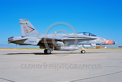 CAG-F-18USN 00005 A static McDonnell Douglas F-18C Hornet USN jet fighter VFA-146 BLUE DIAMONDS CAG USS John C Stennis 7-2002 military airplane picture by Michael Grove, Sr