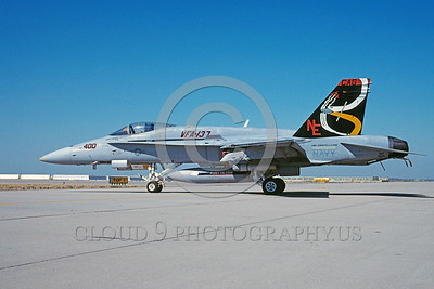 CAG-F-18USN 00017 A static McDonnell Douglas F-18C Hornet USN jet fighter VFA-137 KESTRELS NE code CAG USS Constellation NAS Lemoore 7-1998 military airplane picture by Michael Grove, Sr