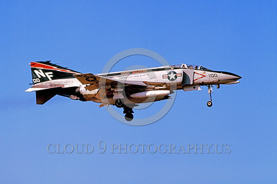 CAG-F-4USN 00002 A landing McDonnelll Douglas F-4N Phantom II USN jet fighter VF-161 CHARGERS USS Midway 3-1975 military airplane picture by Hideki Nagakubo