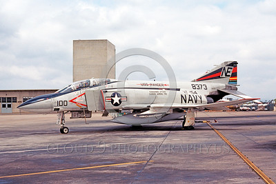 CAG-F-4USN 00005 A static McDonnell Douglas F-4 Phantom II USN jet fighter VF-154 BLACK KNIGHTS USS Ranger NAS Miramar 5-1977 military airplane picture by Peter J Mancus