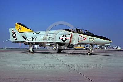 CAG-F-4USN 00003 A static McDonnell Douglas F-4 Phantom II USN jet figher VF-302 STALLIONS NAS Miramar military airplane picture by Peter J Mancus