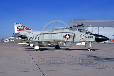 CAG-F-4USN 00009 A static McDonnell Douglas F-4 Phantom II USN jet fighter VF-213 BLACK LIONS USS Kitty Hawk NAS Miramar 11-1972 military airplane picture by Peter J Mancus
