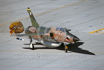 CHUTE-F-105ANG 00006 A Republic F-105G Thunderchierf Wild Weasel Georgia ANG taxis with deployed chute MCAS Yuma military airplane picture by Peter J Mancus