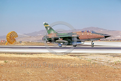 CHUTE-F-105ANG 00001 A taxing Republic F-105 Thunderchief Virginia ANG taxis with deployed chute George AFB 7-1980 military airplane picture by Peter B Lewis