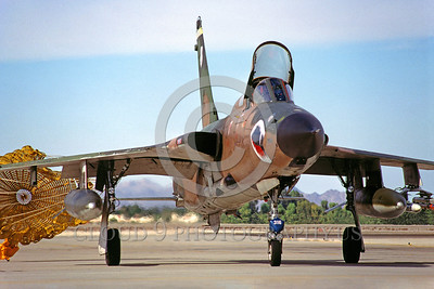 CHUTE-F-105ANG 00005 A Republic F-105G Thunderchief Wild Weasel Georgia ANG taxis with deployed chute MCAS Yuma 12-1981 military airplane picture by Peter J Mancus