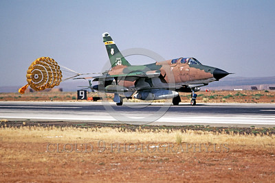 CHUTE-F-105ANG 00007 A Republic F-105 Thunderchief Virginia ANG taxis with chute George AFB 7-1980 military airplane picture by Peter B Lewis
