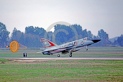 CHUTE-F-106ANG 00004 A Convair F-106A Delta Dart New Jersey ANG rolls out with deployed chute McClellan AFB 1-1986 military airplane picture by Peter B Lewis