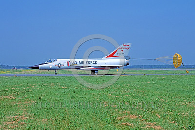 CHUTE-F-106ANG 00003 A Convair F-106A Delta Dart New Jersey ANG taxis with deployed chute Atlantic City 6-1981 military airplane picture by Peter J Mancus