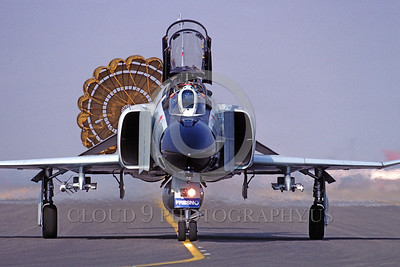 CHUTE-F-4ANG 00001 A McDonnell Douglas F-4 Phantom II California ANG Fresno taxis with deployed chute military airplane picture by Peter J Mancus