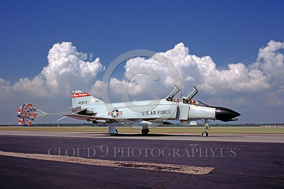 CHUTE-F-4ANG 00002 A McDonnell Douglas F-4 Phantom II North Dakota ANG taxis with deployed chute Tyndall AFB 1984 military airplane picture by Peter J Mancus