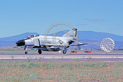 CHUTE-F-4ANG 00004 A McDonnell Douglas F-4 Phantom II Oregon ANG Klamath 7-1986 rolls out with deployed chute military airplane picture by Peter J Mancus