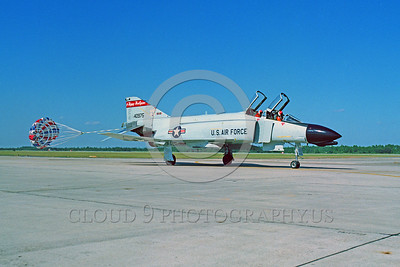 CHUTE-F-4ANG 00011 A McDonnell Douglas F-4 Phantom II North Dakota ANG Tyndall AFB taxis with deployed chute military airplane picture by Peter J Mancus
