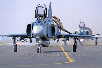 CHUTE-F-4ANG 00016 A McDonnell Douglas F-4 Phantom II Fresno 2-1989 taxis with deployed chute military airplane picture by Peter J Mancus