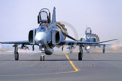 CHUTE-F-4ANG 00012 A McDonnell Douglas F-4 Phantom II Fresno 2-1989 taxis with deployed chute military airplane picture by Peter J Mancus