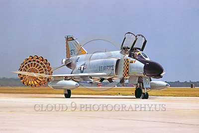 CHUTE-F-4ANG 00005 A McDonnell Douglas F-4 Phantom II Michigan ANG Tyndall AFB taxis with deployed chute military airplane picture by Peter J Mancus