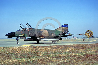 CHUTE-F-4ANG 00009 A McDonnell Douglas F-4 California ANG Fresno 12-1985 taxis with chute military airplane pictur by Peter J Mancus