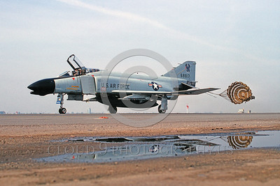 CHUTE-F-4ANG 00008 A McDonnell Douglas F-4 Phantom II California ANG Fresno taxis with deployed chute military airplane picture by Peter J Mancus