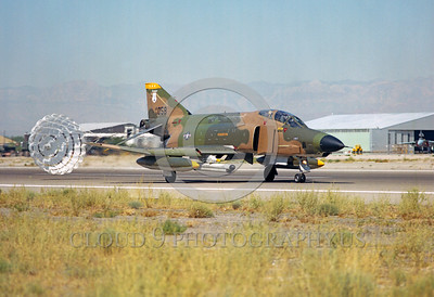 CHUTE-RF-4CANG 00001 A McDonnell Douglas RF-4C Phantom II Alabama ANG rolls out with chute Nellis AFB military airplane picture by Peter J Mancus
