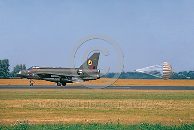 CHUTE-Lightning 00001 A BAC Lightning II BRITISH RAF interceptor rolls out with deployed chute 6-1974 military airplane picture by Lief Hansen