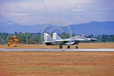 CHUTE-MiG-29 00001 A MiG-29 Fulcrum Soviet Union Air Force jet fighter rolls out at Abottsford with deployed chute military airplane pictrue by Peter J Mancus