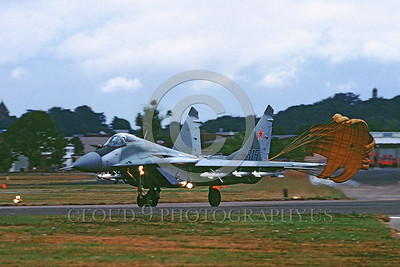 CHUTE-MiG-29 00002 A MiG-29 Fulcrum Soviet Union Air Force UK rolls out with deployed chute military airplane picture by Peter J Mancus
