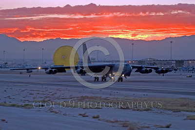 CHUTE-B-52 00009 A Boeing B-52 Stratofortress strategic USAF jet bomber LA code rolls out at Nellis AFB during Red Flag exercise with deployed chute military airplane picture by Peter J Mancus
