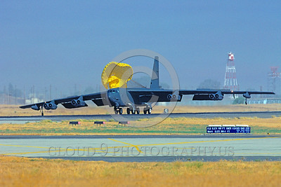 CHUTE-B-52 00007 A Boeing B-52 Stratofortress USAF strategic bomber with deployed chute Castlel AFB military airplane picture by Peter J Mancus