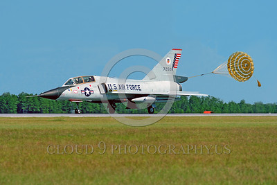 CHUTE-F-106BUSAF 00001 A taxing Convair F-106B Delta Dart USAF interceptor with deployed chute Tyndall AFB military airplane picture by Peter J Mancus