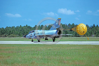 CHUTE-F-106BUSAF 00002 A ConvairF-106B Delta Dart USAF rolls out with deployed chute Tyndall AFB 11-1978 military airplane picture by Peter J Mancus