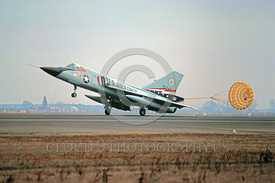CHUTE-F-106AUSAF 00004 A Convair F-106 Delta Dart 84th FIS USAF rolls out with deployed chute Castle AFB military airplane picture by Peter J Mancus