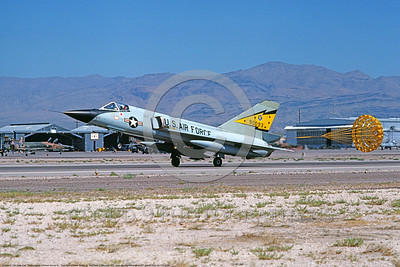 F-106A-USAF-5th FIS 0001 A landing Convair F-106A Delta Dart USAF interceptor 90093 5th FIS SPITTEN KITTENS with deployed chute Nellis AFB 7-1979 military airplane picture by Michael Grove, Sr      DONEwt