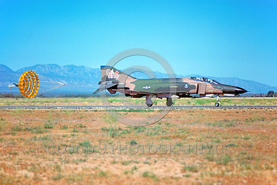 CHUTE-F-4USAF 00012 A McDonnell Douglas F-4E Phantom II USAF jet fighter GA code rolls out with chute George AFB 7-1979 military airplane picture by Peter J Mancus