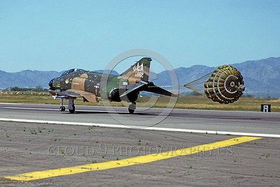 CHUTE-F-4USAF 00005 A McDonnell Douglas F-4 USAF jet fighter LA code rolls out with chute Luke AFB 11-1979 military airplane picture by Peter J Mancus