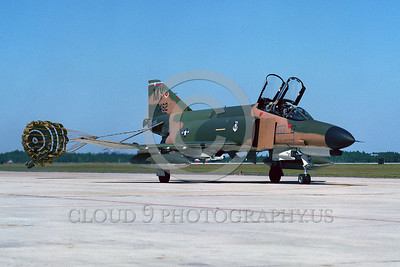 CHUTE-F-4USAF 00006 A McDonnell Douglas F-4E Phantom II USAF jet fighter MY code taxis with chute Tyndall AFB military airplane picture by Peter J Mancus