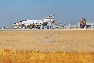 CHUTE-F-4USMC 00006 A McDonnell Douglas F-4 Phantom II USMC jet fighter VMFA-112 COWBOYS rolls out with chute NAS Miramar military airplane picture by Peter J Mancus