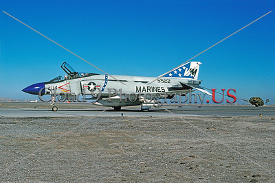 CHUTE-F-4II-USMC-VMFA-451 001 A McDonnell Douglas F-4J USMC jet fighter 155522 VMFA-451 WARLORDS VM code taxis with chute NAS Fallon 11-1976 military airplane picture by Peter B Lewis     Dt