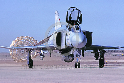 CHUTE-F-4USMC 00002 A McDonnell Douglas F-4 Phantom II USMC jet fighter taxis with chute MCAS Yuma military airplane picture by Peter J Mancus