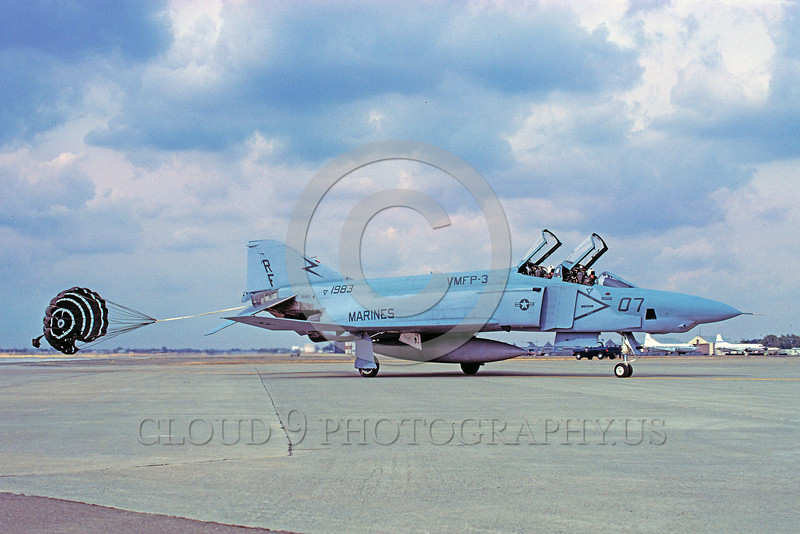 CHUTE-RF-4BUSMC 00002 A McDonnell Douglas RF-4B Phantom II USMC VMFP-3 EYES OF THE CORPS taxis with chute McClellan AFB military airplane picture by Carl E Porter