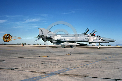 CHUTE-RF-4BUSMC 00001 A McDonnell Douglas RF-4B Phantom II USMC VMFP-3 EYES OF THE CORPS taxis with chute NAS Fallon 10-1984 military airplane picture by Peter B Lewis