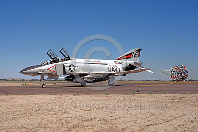 CHUTE-F-4USN 00007 A McDonnell Douglas F-4J Phantom II USN jet fighter VF-154 BLACK KNIGHTS taxis with chute NAS Fallon 8-1975 military airplane picture by Peter B Lewis