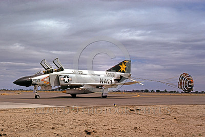 CHUTE-F-4USN 00002 A McDonnell Douglas F-4J USN jet fighter VF-33 TARSIERS USS Independence NAS Fallon 5-1975 taxis with chute military airplane picture by Peter B Lewis
